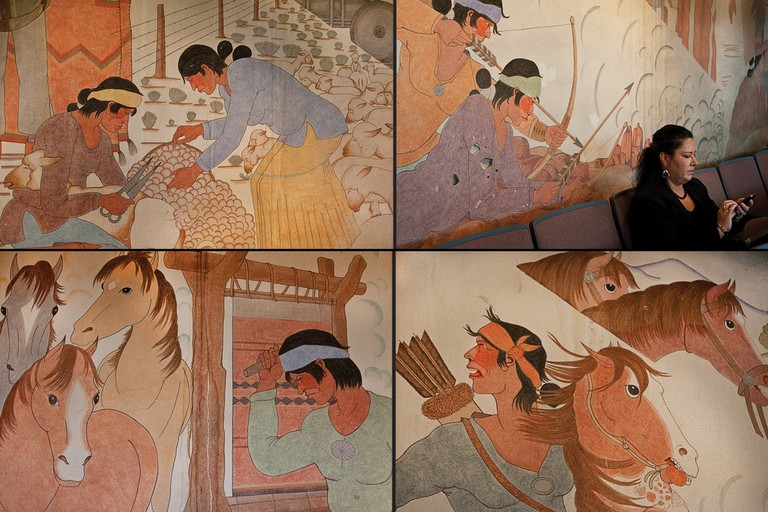 Scenes from the mural that covers the wall of the Navajo Council Chamber.