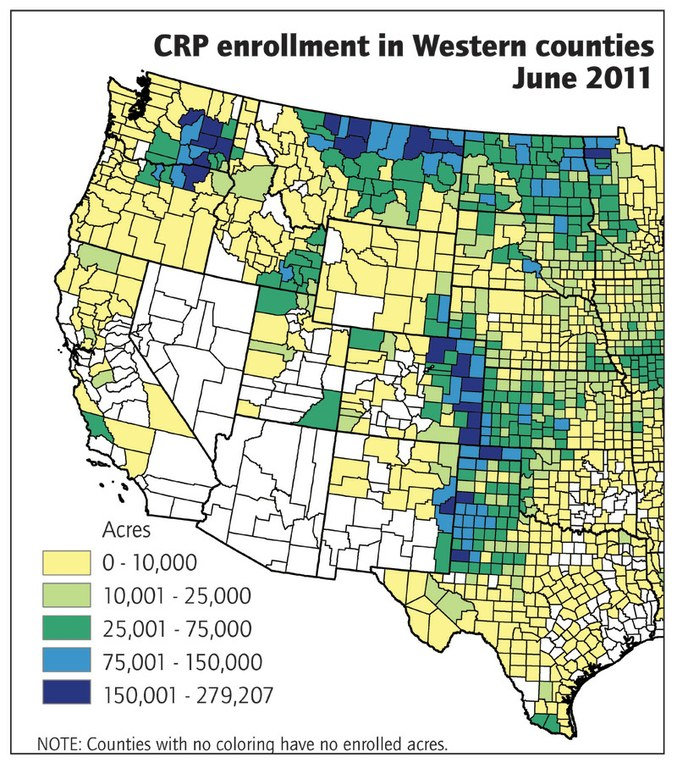 There are 31.2 million acres of CRP land in the United States; 8.3 million are in the 11 Western states.  Colorado and Montana have the most Western acres in CRP, because so much of their cropland is highly erodible.