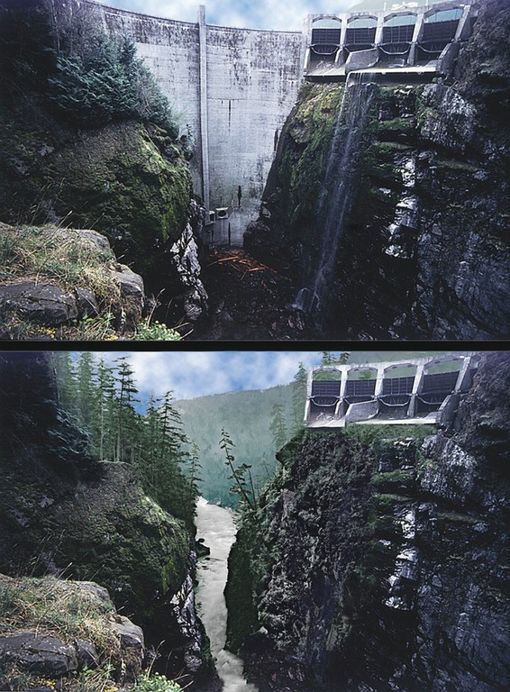 Glines Canyon Dam on Washington's Elwha River, before the dam comes down (left), and an artist's conception of what it might look like afterward.