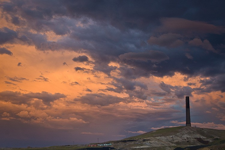 The Anaconda Stack, at 585 feet tall, dominates the landscape around Anaconda, Montana.