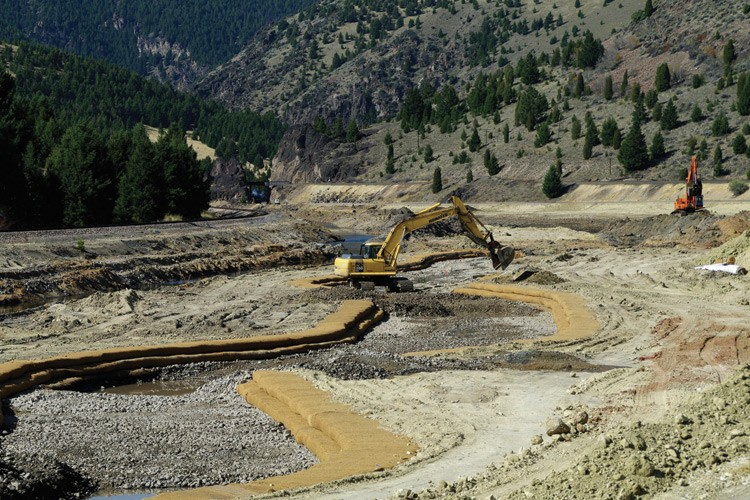 Montana Department of Environmental Quality crews reconstruct Clark Fork tributary Silver Bow Creek in Durant Canyon, between Butte and Opportunity, in September 2010.