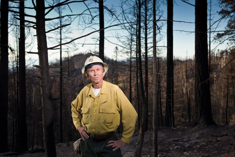 Santa Fe National Forest Fuels Specialist Program Manager Bill Armstrong in an area affected by the Las Conchas Fire.
