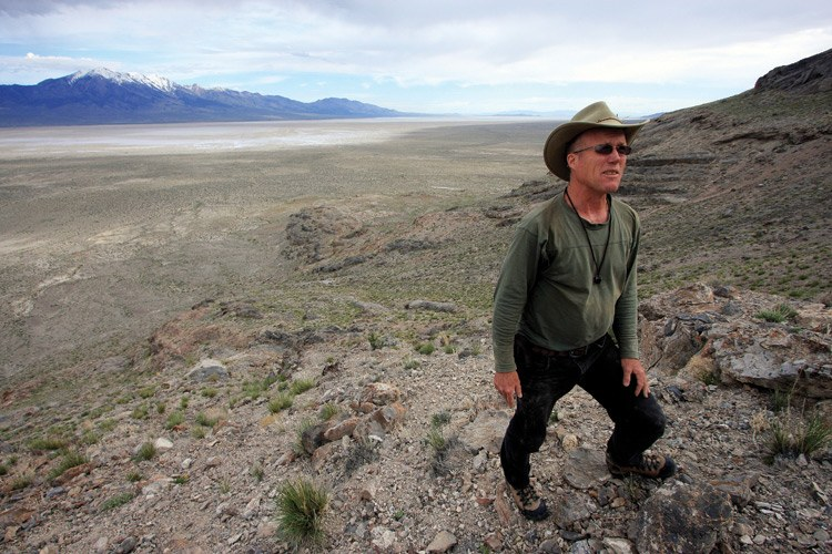 Geologist Jay Quade in Utah's Silver Island Range. Behind him is t