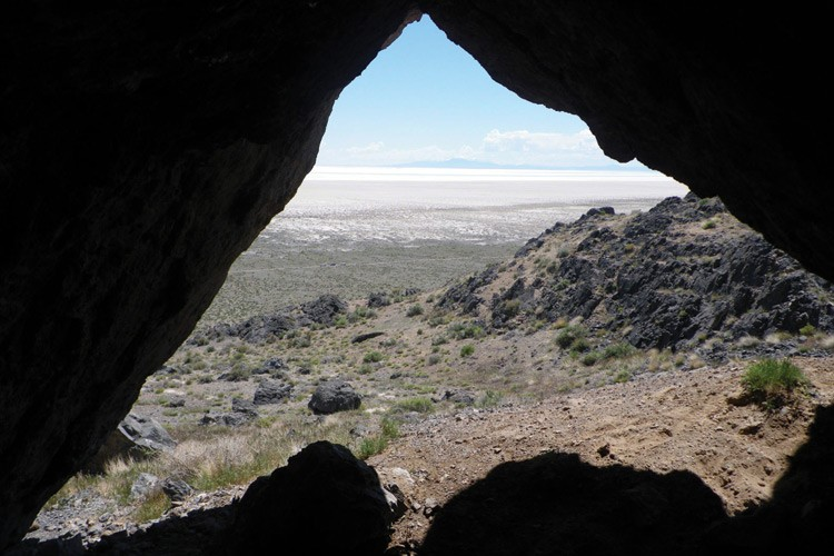 The Bonneville Basin, viewed from the entrance of one of the caves geologists are studying.