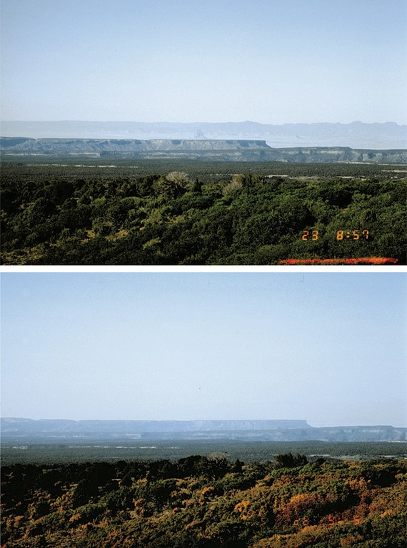 Taken from automated stations in Mesa Verde National Park, these photos were used in the '80s and early '90s to help the Park Service monitor haze. They show a range of visibility conditions that regularly occur. Shiprock and the Chuskas are visible in the background of the top photo under clear conditions, and invisible behind haze in the bottom photo.