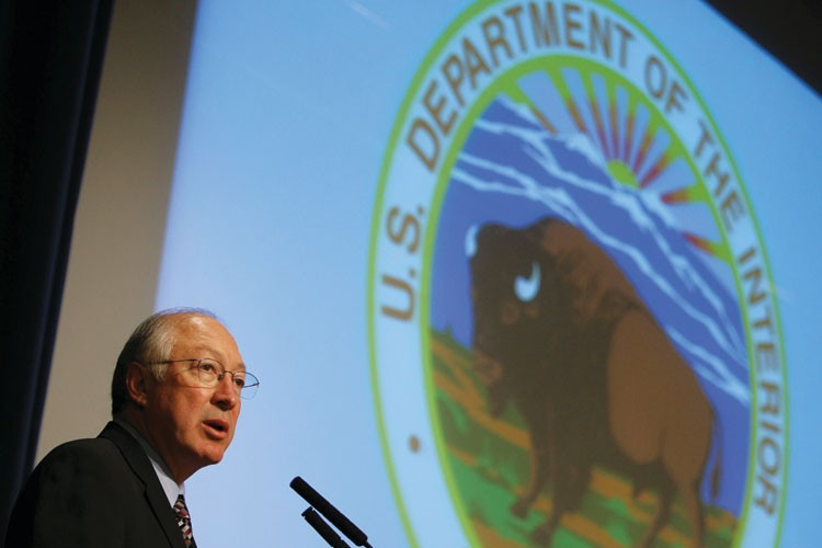 U.S. Department of the Interior Secretary Ken Salazar speaks during a public meeting on offshore drilling in April 2009. A year later, the Obama administration would propose increasing offshore drilling just days before the Gulf oil spill.