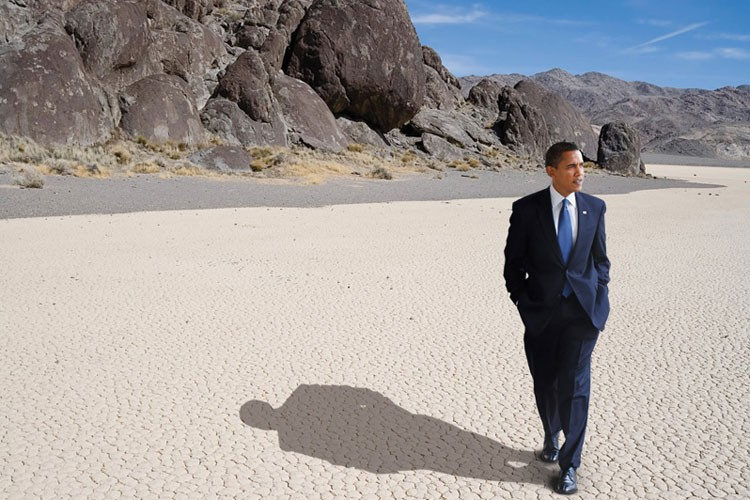 Photo illustration, Barack Obama in Death Valley.