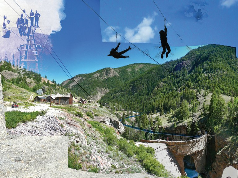 A photo illustration outlines a proposed plan to rebuild the aerial tramway, used for hauling ore and miners, with the added excitement of a zipline.
