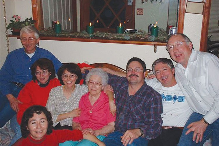 The seven living Salazar siblings with their mother. From left: LeRoy, Margaret, June, mother Emma, Elliott, John, Ken. Front: Elaine.