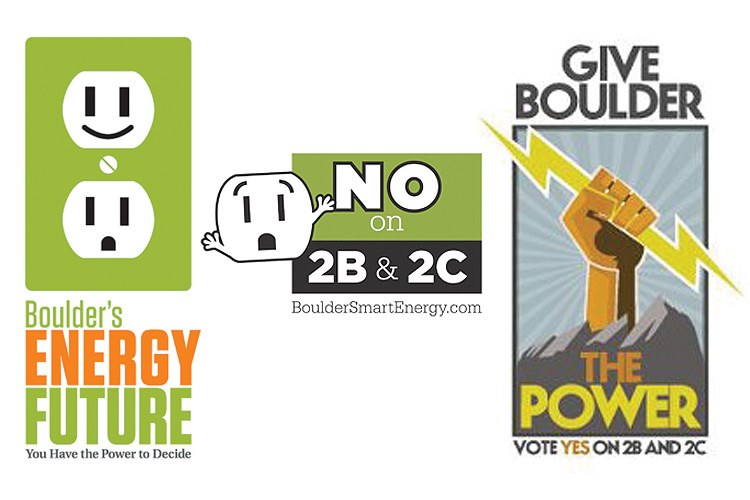 "Various logos from Boulder's election. Top: The city of Boulder spent $860,000 preparing two public power ballot measures, a key component of the city's energy planning, but could not participate in the campaign. Middle: The Boulder Clean Energy Business Coalition ""marshalled the significant intellectual resources in the business community"" to support the new utility. Bottom: Opposing municipalization, the Boulder Smart Energy Coalition brought citizens and businesses together to fight the ballot measures."