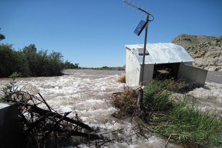 The Wind River floods near Crowheart, Wyoming, in spring of 2011.