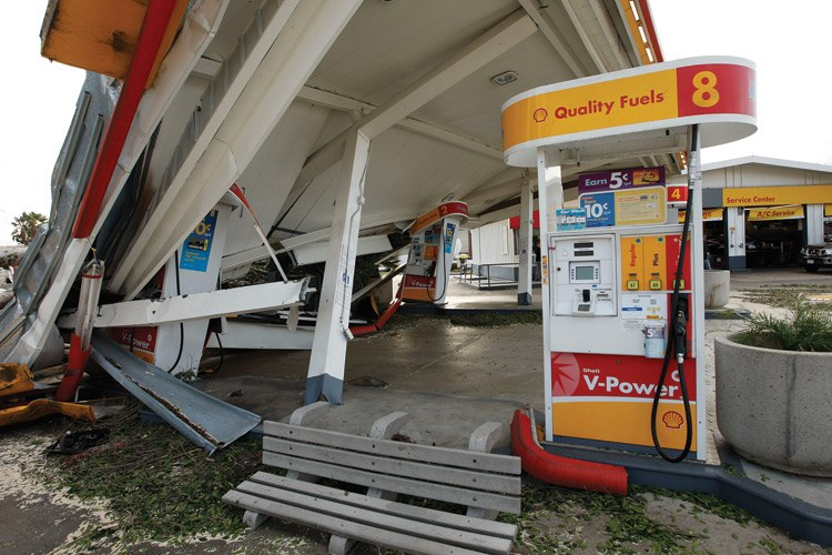 A gas station damaged by Santa Ana winds