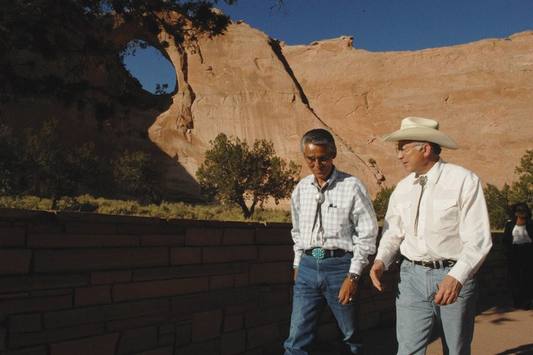 Navajo President Joe Shirley and Interior Secretary Ken Salazar at Window Rock on the Navajo Reservation in 2009. Shirley signed a new Colorado River water agreement before leaving office in January.