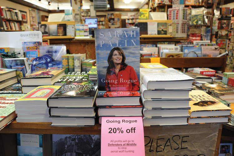 Sarah Palin's book Going Rogue, on sale at a Sitka, Alaska, bookstore with a note that all profits would go to Defenders of Wildlife to stop aerial wolf hunting.