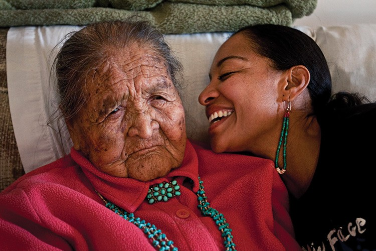 Radmilla Cody's grandmother Dorothy with Radmilla, whom she raised in the Navajo way.