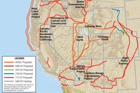 Major proposed and existing transmission lines in the West