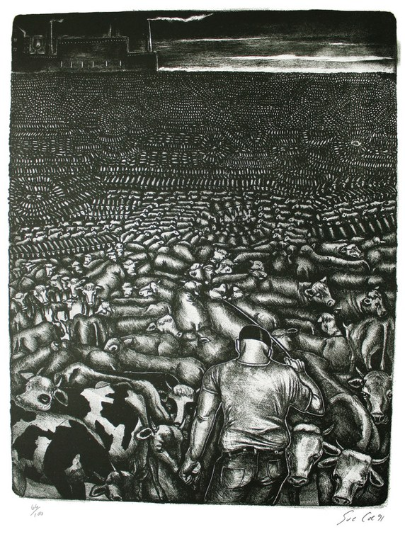 """Feed Lot,"" stone lithographic by Sue Coe. For more of her work, including her Slaughterhouse and Factory Farm series, see www.graphicwitness.org/coe/enter.htm."