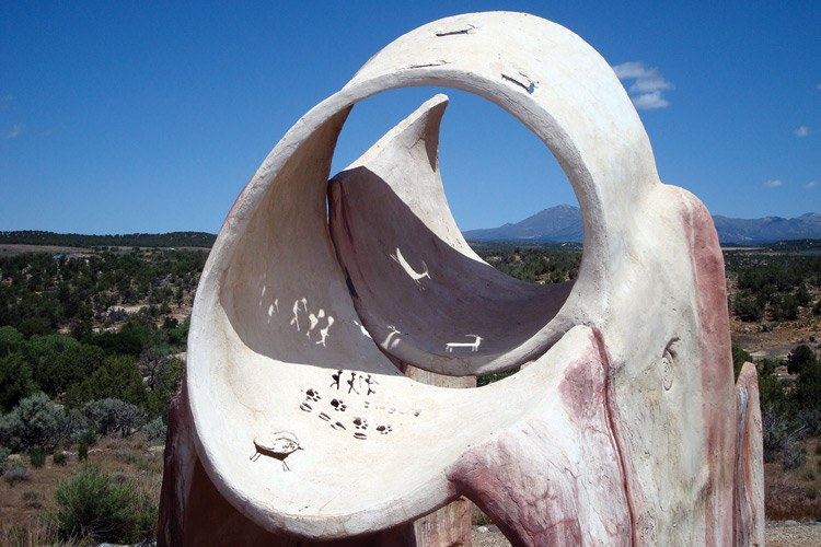 The Sun Marker sculpture at Edge of the Cedars State Park, inspired by Ancestral Puebloan archaeoastronomy sites and created by artist Joe Pachak, is a calendar that marks the summer and winter solstices.