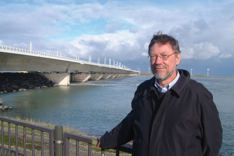 George Annandale at the Oosterscheldekering (Eastern Scheldt Storm Surge Barrier) in Holland, designed to last 200 years.