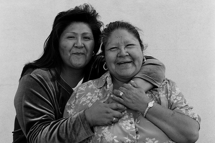 Two members of the Southern Paiute Tribe, Lora E. Tom and Eleanor Tom.
