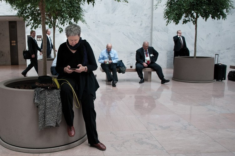 Sease checks for messages at the Hart Senate Office Building on Capitol Hill.