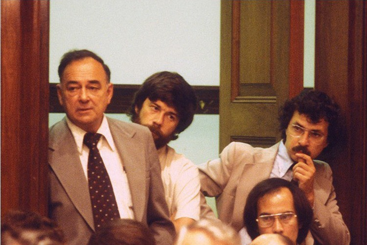 Tim Mahoney (center) and fellow Westerner Doug Scott (right), who now works in the Pew Environment Group's Seattle office, at a session on the Alaska Lands Act in the House Interior Committee room c. 1970s.