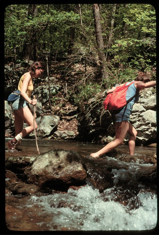 Debbie Sease and a fellow Wilderness Society staffer, Lynn Krzynach, on break from the demands of Washington circa 1978 at the Big Schloss Roadless Area in Virginia.