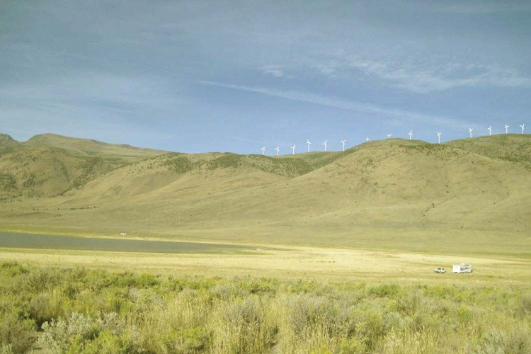 A simulation of what Echanis' wind turbines will look like on Hoyt Wilson's Mann Lake Ranch.