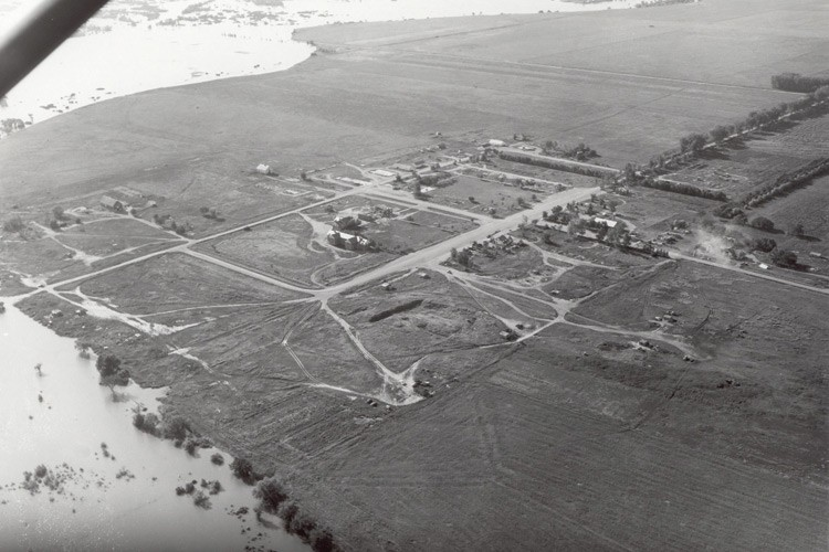 Water encroaches on farmland and homes as Lake Sakakawea begins to fill in the late 1950s.