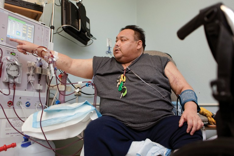 Leslie Baker receives a treatment at Three Affiliated Tribes Dialysis west of New Town, where the patients in need far outnumber the 10 stations available. Within weeks, Baker would be dead from complications of diabetes.