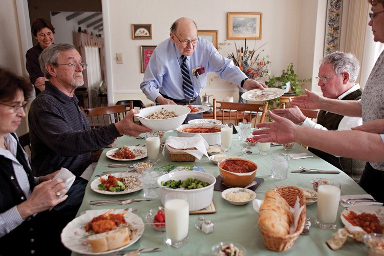 Dr. Herbert Wilson, 90,  gathers with his family for a Sunday meal at his home in Bismarck, North Dakota.  He's seen firsthand how a change of diet and lifestyle affected the health of members of the Three Affiliated Tribes.