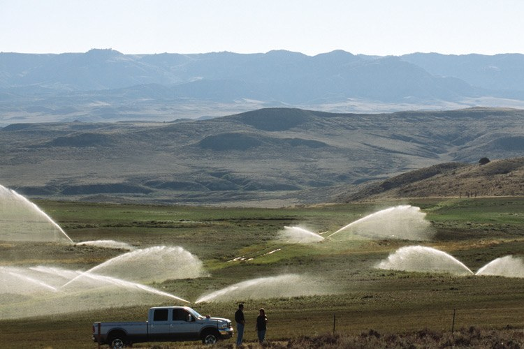 Precision irrigation near Gillette, Wyoming, in the Yellowstone River Basin, where new, more efficient methods lead to less water for Montana in the rivers downstream.