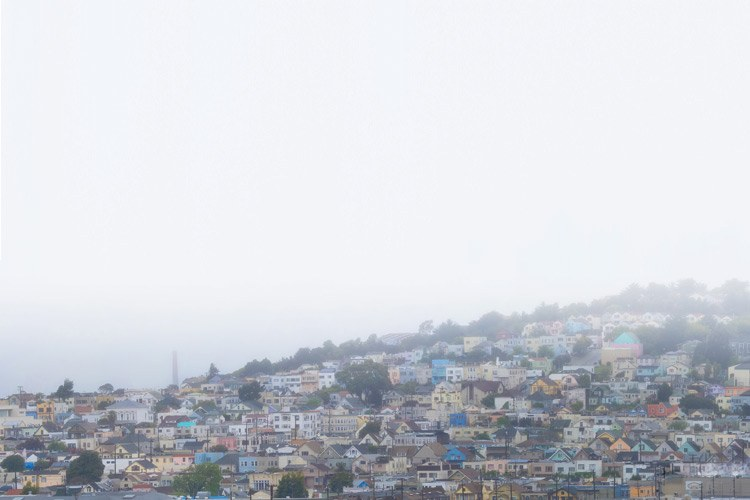 The colorful old African American neighborhood of Bayview in the San Francisco fog.