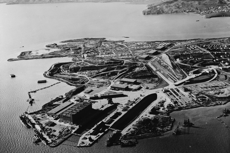 The Hunters Point Naval Shipyard, circa 1940s. A radiological testing lab and other industrial operations would later result in the site being added to the EPA's Superfund inventory.