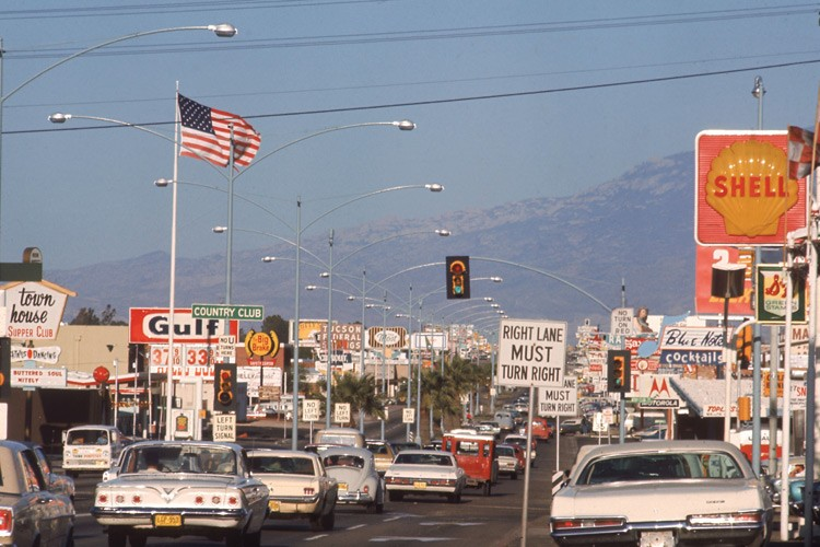"Tucson's Speedway Boulevard in 1970, when it was named by Life Magazine ""the ugliest street in America."""