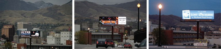 A Reagan Outdoor Advertising digital billboard changes its ads every few seconds as cars drive down 600 South, an I-15 exit that's a busy gateway to Salt Lake City.