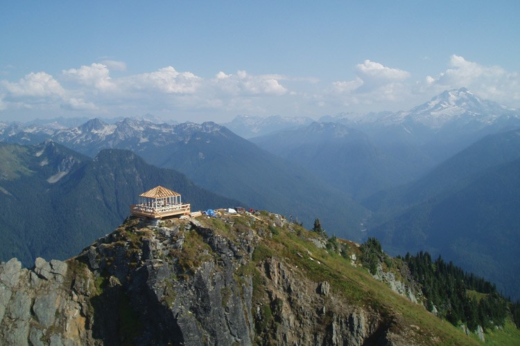The Green Mountain fire lookout under reconstruction in 2009 on the edge of the  573,000-acre Glacier Peak Wilderness near Darrington, Washington.