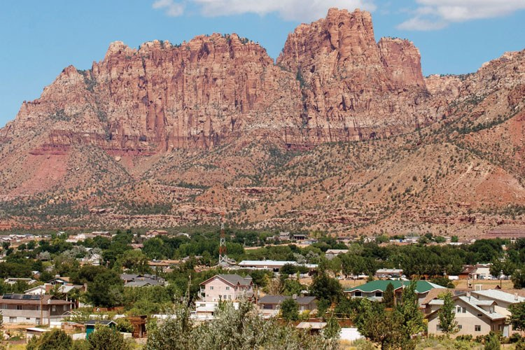 Picturesque cliffs loom over Hildale, Utah, and Colorado City, Ariz. -- the traditional FLDS headquarters, known locally as Short Creek.