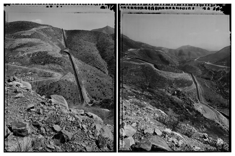 Otay Mountain, San Diego Sector, California, 2010. 18-foot-high metal structure, $16 million per mile, over 3.6 miles of a 3,500-foot mountain peak.