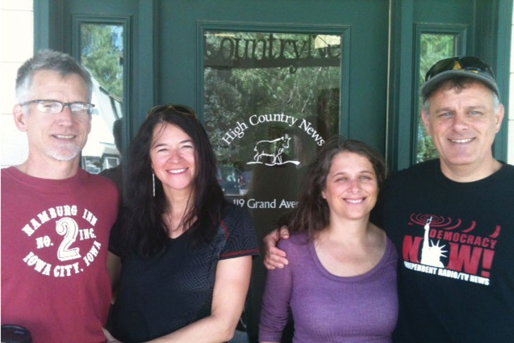 Stopping by the office to talk shop were, from left, Marc Morton, Natalie Trombly, Patricia Schoch and Denis Moynihan.