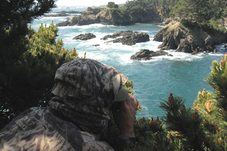 California Fish and Game warden Don Powers stalks suspected abalone poachers from high above Buckhorn Cove.
