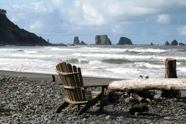 Below, visitors to Quileute Oceanside Resort can take advantage of the nearly pristine First Beach.