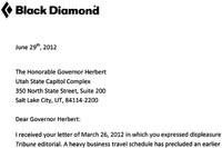 Dueling Letters: Utah's Governor versus Black Diamond's CEO