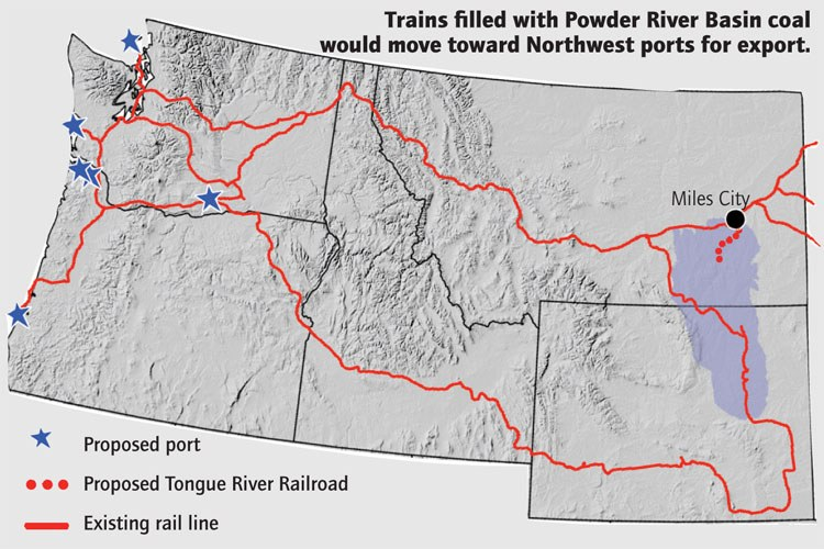 Trains filled with Powder River Basin coal would move toward Northwest ports for export.