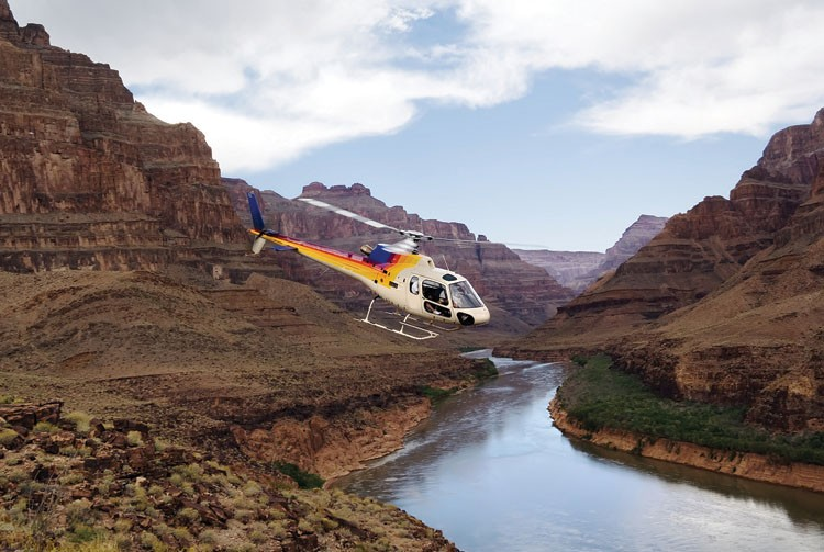 A helicopter over the Grand Canyon
