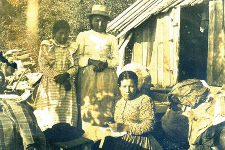 Coast Salish tribal members in 1900s, San Juan Islands.
