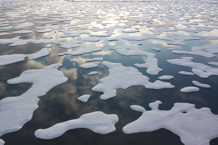 Ice patterns in the Chukchi Sea of Alaska, where Shell Oil  plans to drill exploratory oil wells.
