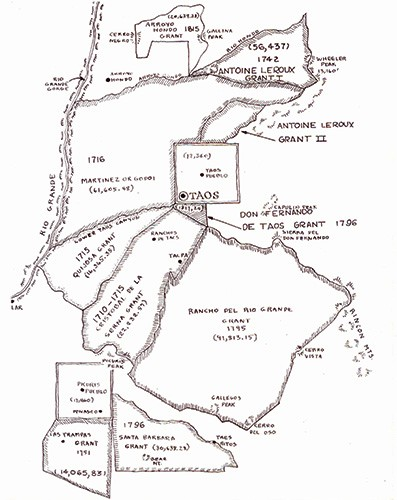 Map from the Taos County Historical Society 1968 publication Land Grants in Taos Valley.