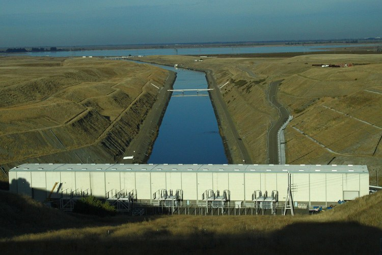 The Banks Pumping Plant looking toward the Bay Delta, where tunnels are planned that could protect fish.