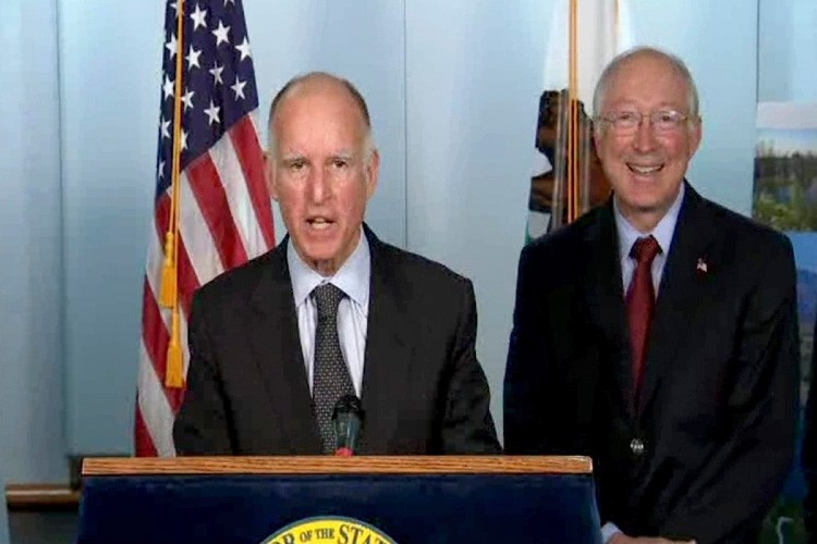 California Gov. Jerry Brown and Interior Secretary Ken Salazar unveil a new plan for tunnels in the Bay Delta Conservation Plan.